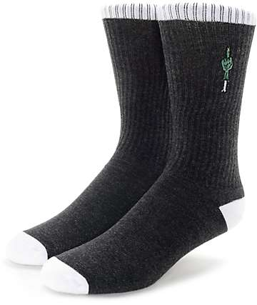 Empyre Tricks Zombie Finger Charcoal & White Crew Socks