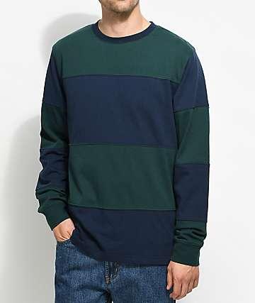Empyre Two Lanes camiseta a rayas de manga larga en verde y azul