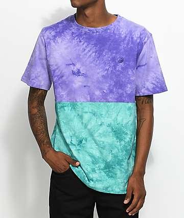 Empyre Twofaced camiseta con efecto tie dye en morado y verde azulado