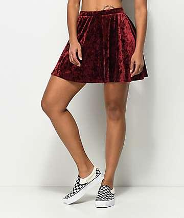 Empyre Valdosta Burgundy Velvet Skater Skirt