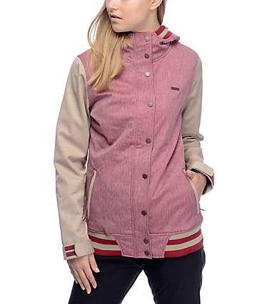 Empyre Varsity 10K chaqueta softshell en caqui y color borgoña