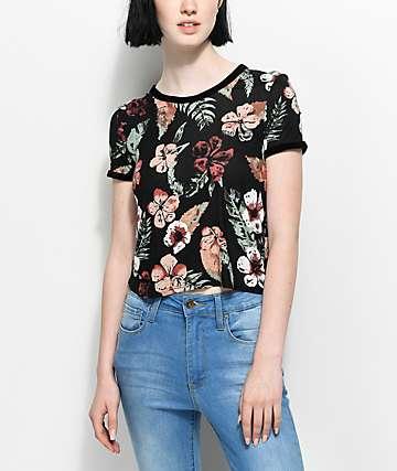Empyre Velvet Black Floral Ringer T-Shirt