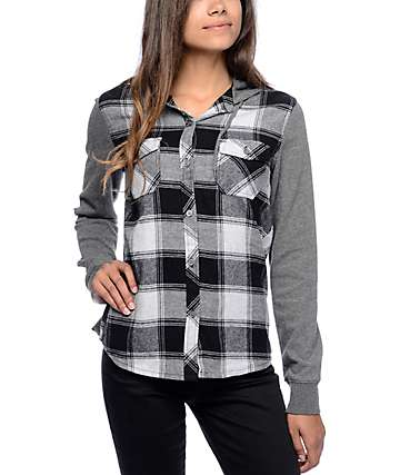 Empyre Vera Grey Plaid Hooded Flannel Shirt