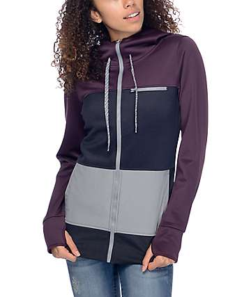 Empyre Vernon Blackberry & Black Zipper Tech Fleece Hoodie