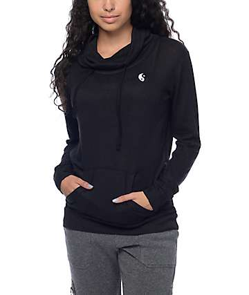 Empyre Vienna Yin Yang Black Cowl Pull Over Hoodie