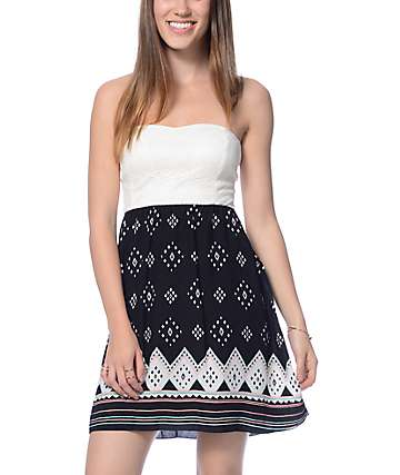 Empyre Vita Cream & Black Tribal Pattern Tube Dress