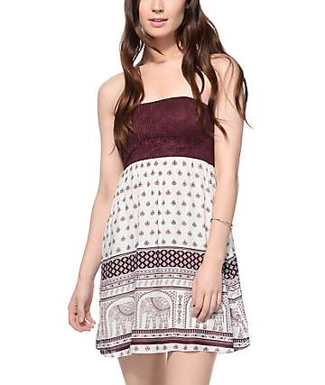 Empyre Vita Elephant White & Blackberry Tube Dress