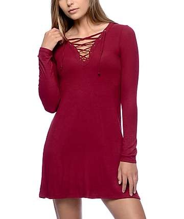 Empyre Walsh Lace Up Burgundy Long Sleeve Ribbed Dress