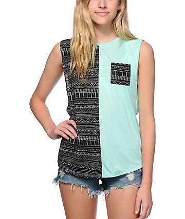 Empyre Warren Mint & Black Tribal Block Muscle Tank Top