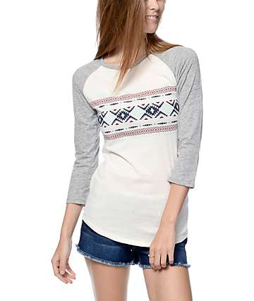 Empyre White & Grey Tribal Pattern Underwood Baseball Tee