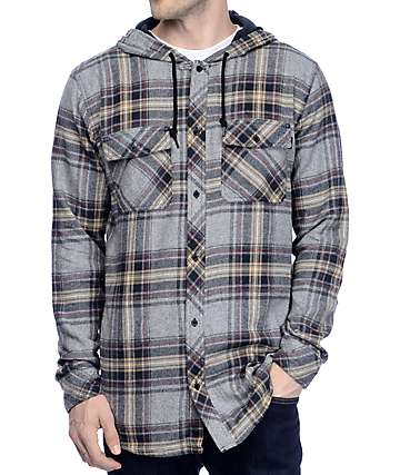 Empyre Willow Charcoal, Black & Khaki Hooded Flannel
