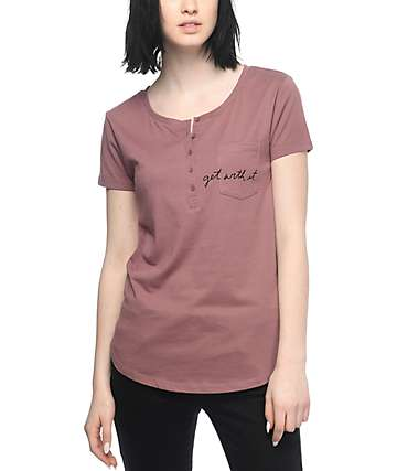 Empyre Yan Get With It Mauve Henley T-Shirt