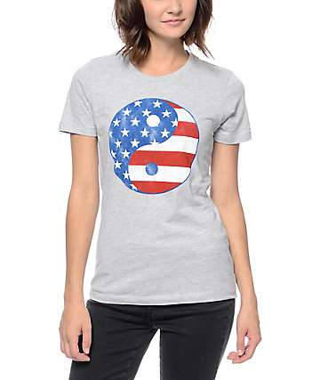 Empyre Yin Yang USA Grey Crew Neck T-Shirt
