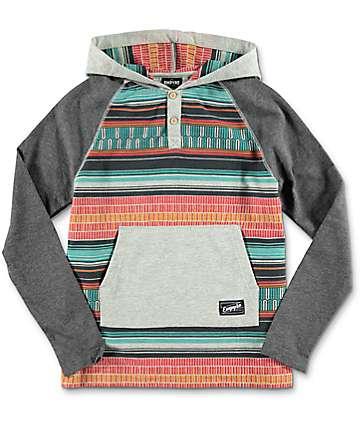 Empyre Youth Burner Grey & Tribal Hooded Shirt