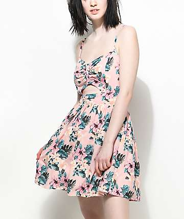 Empyre Yumiko Floral Cut Out Pink Dress