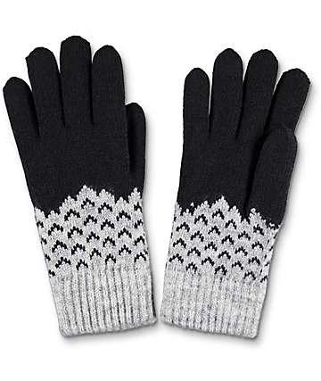 Empyre guantes cheurón en negro y gris