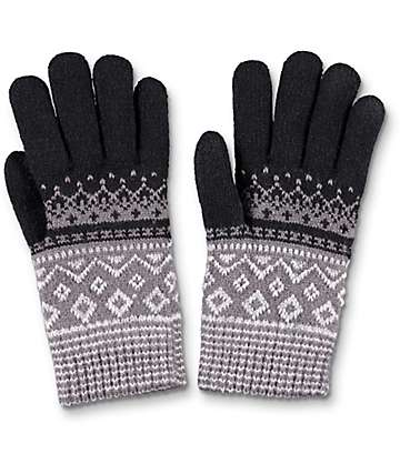 Empyre guantes de chenille en gris y negro