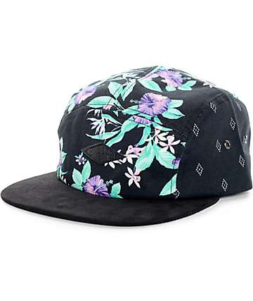 Emypre Hula Black Multi Floral 5 Panel Hat