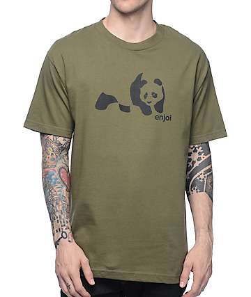 Enjoi Panda Splice camiseta en color olivo