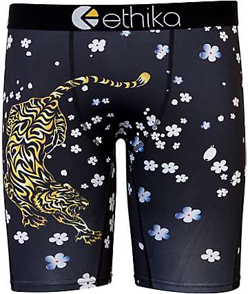 Ethika Tiger Blossom Black Boxer Briefs