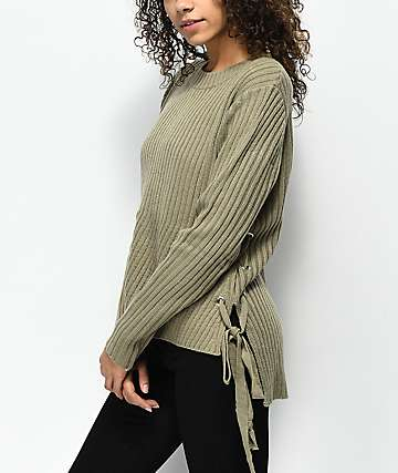 Ethos Kay Side Lace Down Taupe Sweater