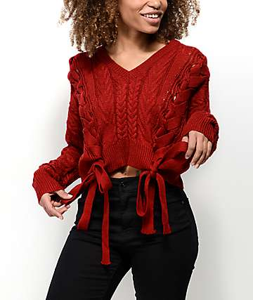 Ethos Sandi Laced Red Crop Sweater
