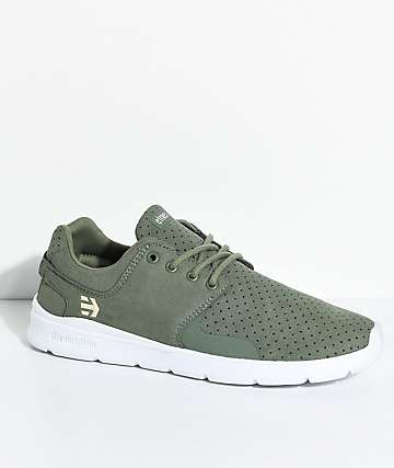 Etnies Scout XT Olive & White Microfiber Suede Shoes