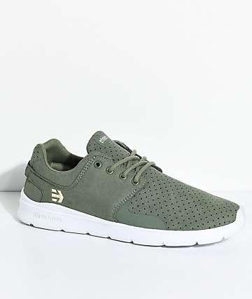 Etnies Scout XT zapatos de ante en blanco y verde olivo