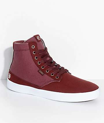 Etnies Vegan Jameson HT Burgundy & White Skate Shoes