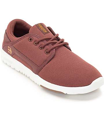 Etnies Women's Scout Burgundy & Tan Shoes
