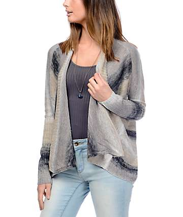 Eyeshadow Callie Ombre Grey Stripe Sweater