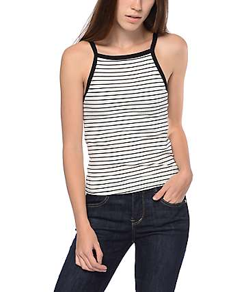 Eyeshadow Striped Black & White Ribbed Tank