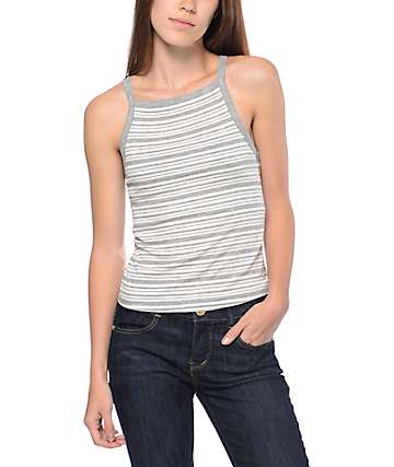 Eyeshadow Striped Grey & White Ribbed Tank