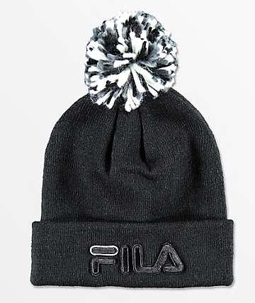 FILA Black & Charcoal Pom Beanie