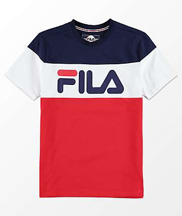 FILA Boys Color Blocked Blue, White & Red T-Shirt