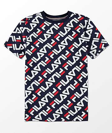FILA Boys Logo Print Dark Blue T-Shirt