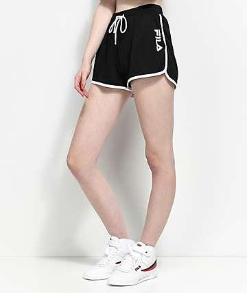 FILA Delphine Black Mesh Shorts