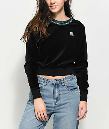 FILA Dina Black Velour Crop Crew Neck Sweatshirt