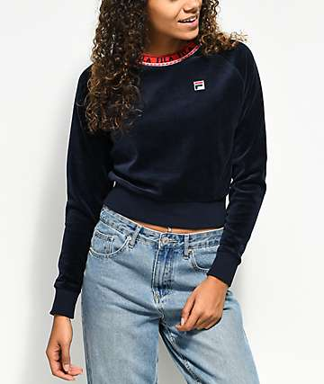 FILA Dina Navy Velour Crop Crew Neck Sweatshirt