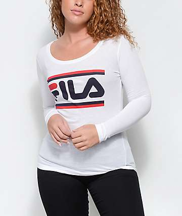 FILA Double Stripe White Long Sleeve T-Shirt