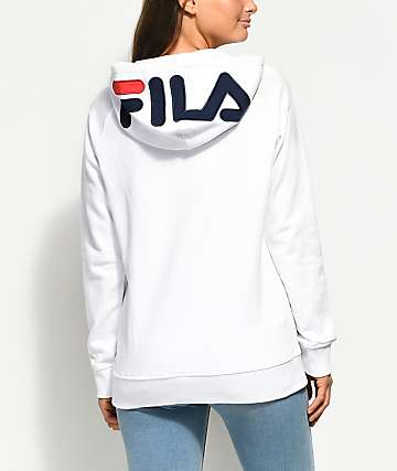 FILA Embroidered Logo White Hoodie