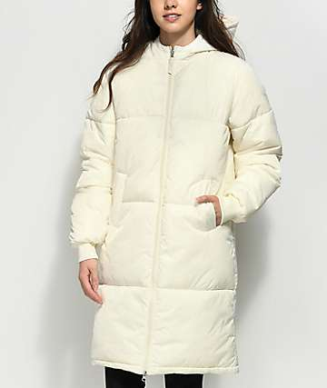 FILA Grace Cream Long Puffer Parka Jacket