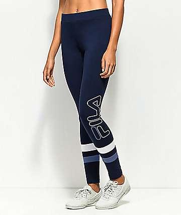 FILA Harley Double Stripe Navy Blue Leggings