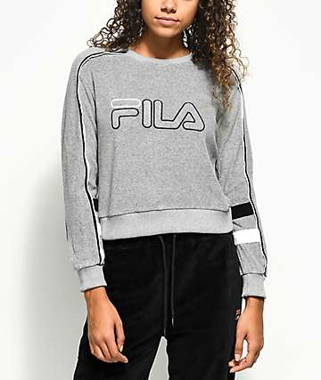 FILA Nikita Grey Terry Crew Neck Sweatshirt