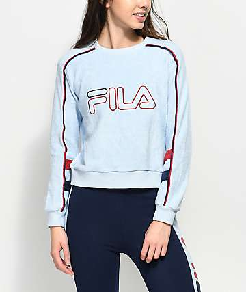 FILA Nikita Light Blue Terry Crew Neck Sweatshirt