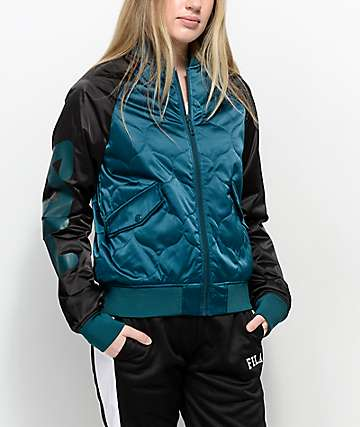FILA Petra Black & Green Quilted Bomber Jacket