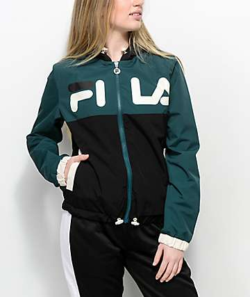 FILA Selma Black & Green Windbreaker Jacket
