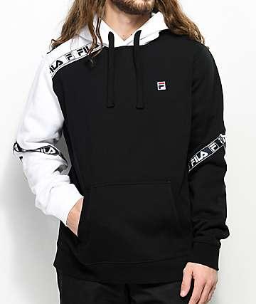 FILA Tag Fleece Black & White Hoodie