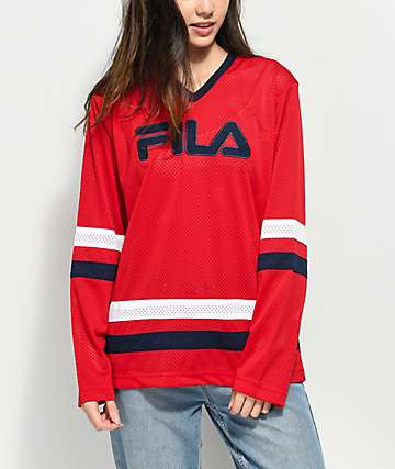 FILA Tanya Red Mesh Long Sleeve Hockey Jersey