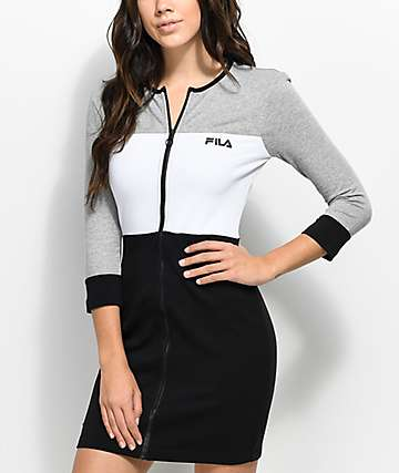 FILA Vienna Black, White & Grey Bodycon Dress